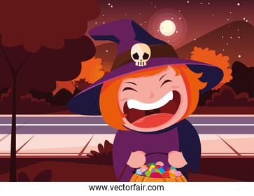 Halloween costumed child vector design