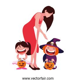 Halloween woman giving candies vector design icon