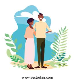 woman and man vector design icon