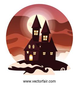 Isolated halloween castle vector design icon