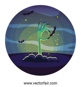Halloween zombie hand vector design icon