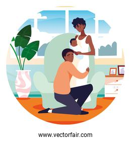 Isolated mother and father with baby design