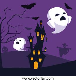 Isolated halloween castle and ghosts vector design