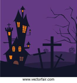 Isolated halloween castle vector design