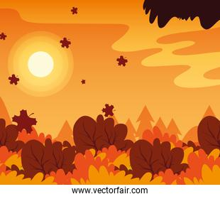 Autumn landscape vector design icon