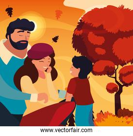 mother and father with son in autumn vector design