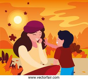 mother with son in autumn vector design