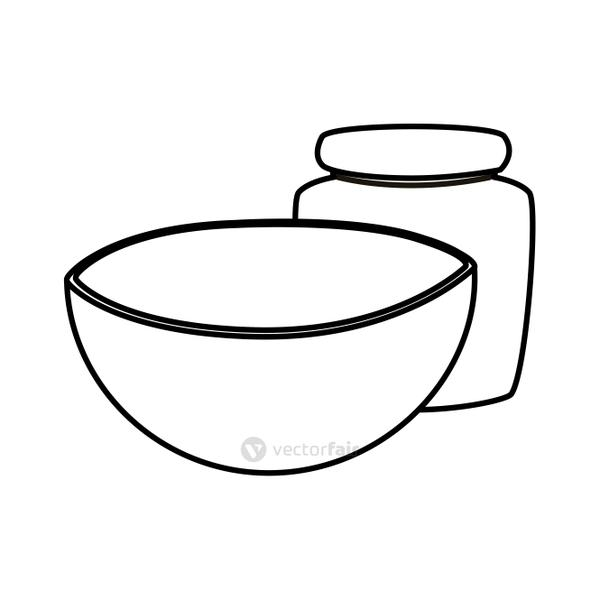 Isolated kitchen bowl and jar vector design