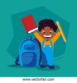 student boy with school supplies, back to school