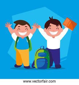 student boys with school supplies, back to school