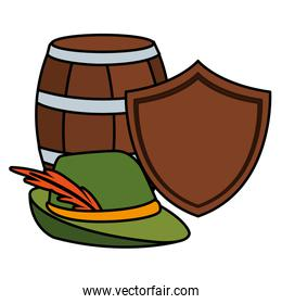 barrel of beer with german hunting hat in white background