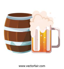 barrel and mug of beer in white background