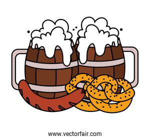 beer festival oktoberfest with set of icons
