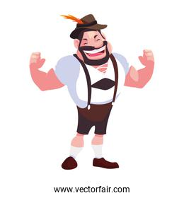 man with german traditional dress in white background