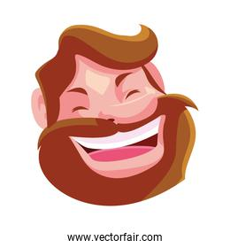 head of man smiling on white background