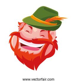 head of man smiling with hat on white background
