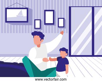 man and son faceless in living room