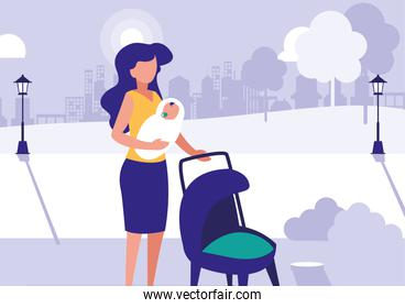 woman with son in park in the city, scene of people outdoor