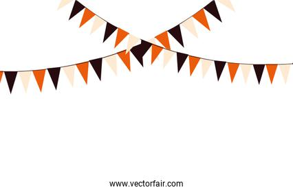 party garland hanging on white background