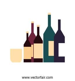 wine bottles with glass in white background