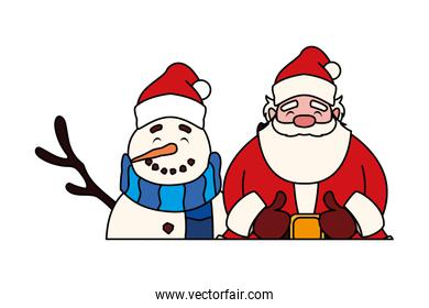 santa claus with snowman on white background