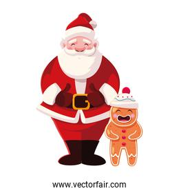 santa claus with gingerbread man on white background