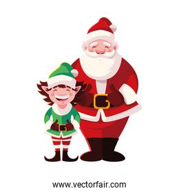 santa claus and elf with hat on white background