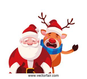 santa claus with reindeer on white background