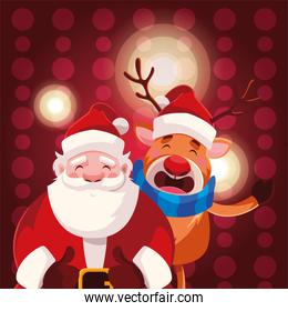 santa claus with reindeer on red background