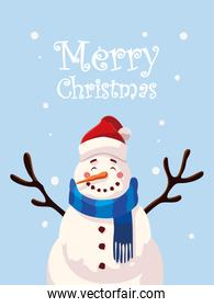 merry christmas cartel with snowman