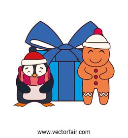 penguin and gingerbread man with gift box