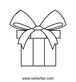 silhouette of gift box with ribbon on white background