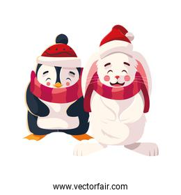 penguin and rabbit with hat and scarf in white background