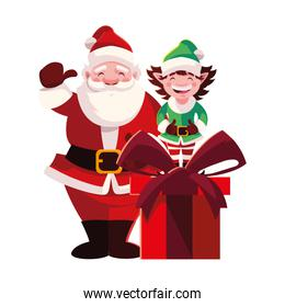 santa claus and elf with gift box on white background