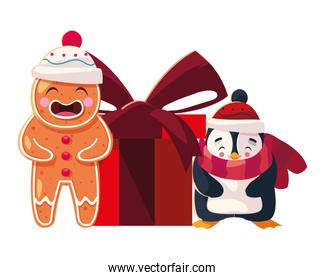 penguin and gingerbread man with gift box on white background