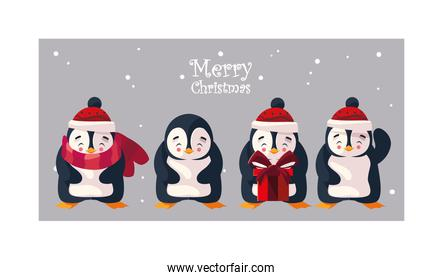set of penguin in winter landscape with label merry christmas