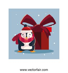 penguin with gift box in winter landscape