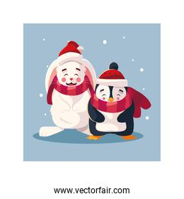penguin and rabbit with hat and scarf in winter landscape