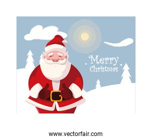 santa claus in winter landscape with label merry christmas