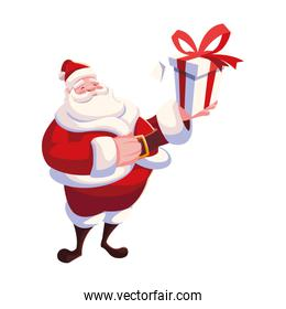 santa claus with gift box on white background