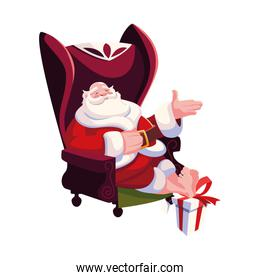 santa claus sitting on sofa in white background