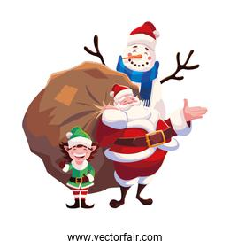christmas card of santa claus with bag of gifts