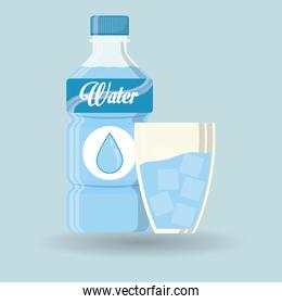 Water bottle with glass, vector illustration