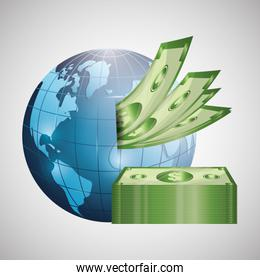 Global economy design, financial and money concept
