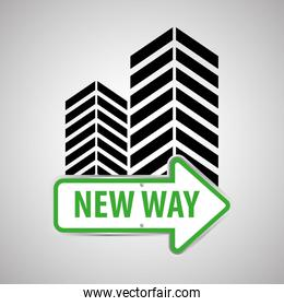 Way design, street and road sign concept, editable vector