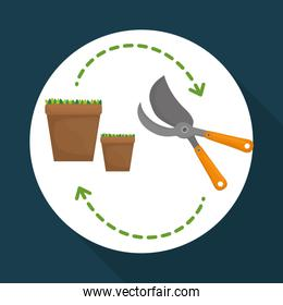Gardening design. work and tools  concept