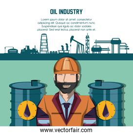 oil industry with worker and factory icons
