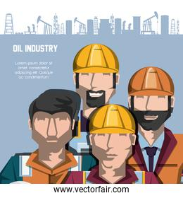 oil industry with workers and factory icons