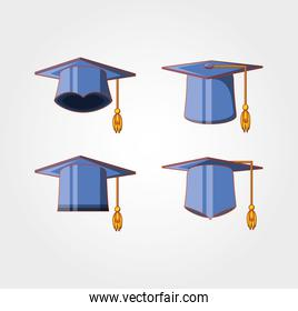 graduation card with hats icon