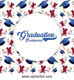 graduation card with hat and diploma pattern